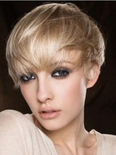Pleasing Blonde Straight Cropped Human Hair Wigs