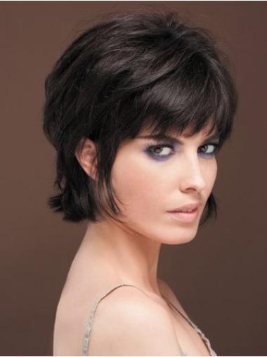 Stylish Black Straight Short Human Hair Wigs