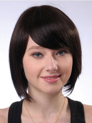 Exquisite Brown Straight Chin Length Human Hair Wigs