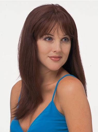 Graceful Red Straight Long Remy Human Lace Wigs