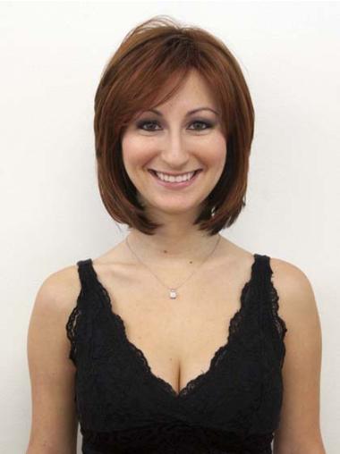 Sleek Auburn Straight Chin Length Human Hair Wigs