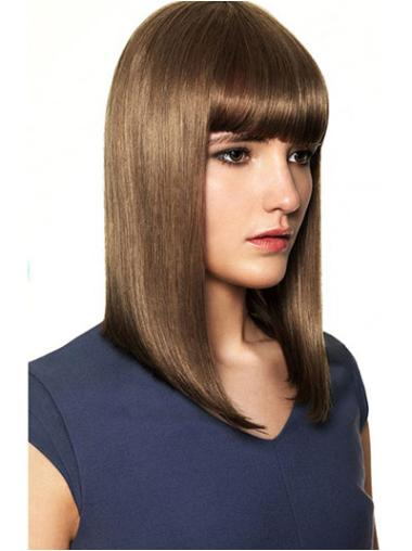 Online Brown Straight Shoulder Length Human Hair Wigs