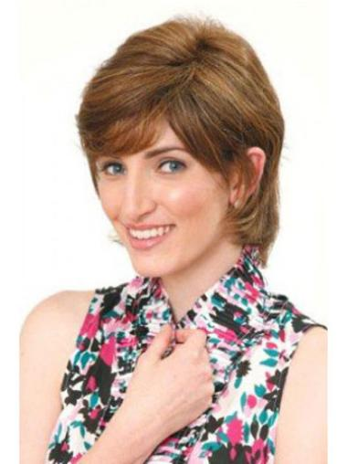 Great Brown Straight Chin Length Human Hair Wigs