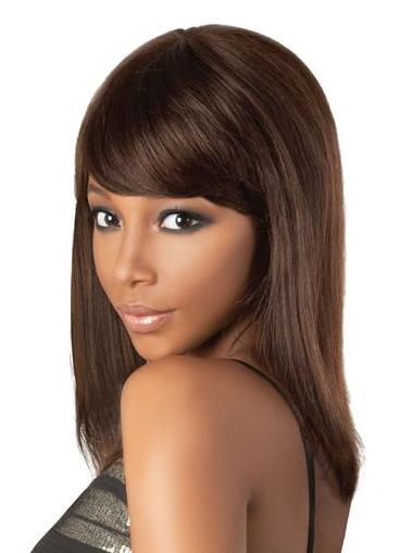 Lace Front Brown Straight Gentle Remy Human Lace Wigs