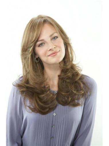 Lace Front Brown Wavy Impressive Human Hair Lace Front Wigs