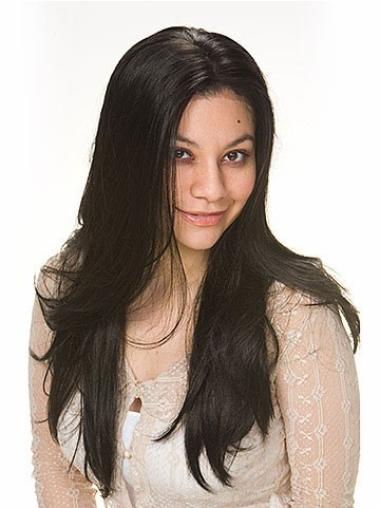 Gentle Black Straight Long Human Hair Wigs