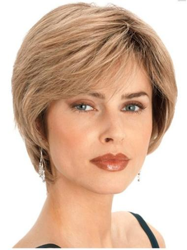 Gentle Blonde Straight Human Hair Wigs