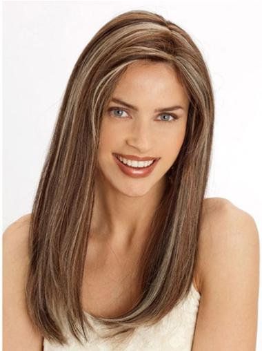 Lace Front Brown Stylish Straight Remy Human Lace Wigs