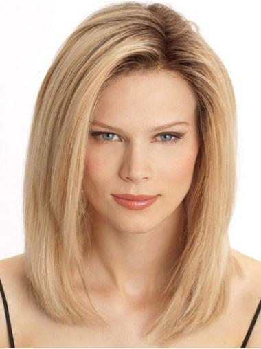 Easeful Blonde Straight Shoulder Length Lace Front Wigs