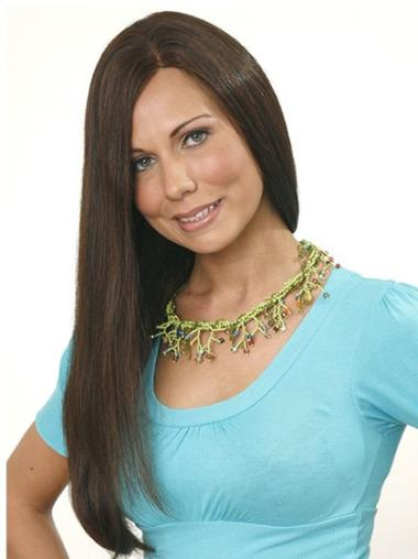 Comfortable Brown Straight Long Human Hair Wigs