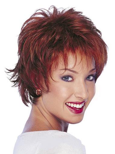 Preferential Red Wavy Short Human Hair Wigs