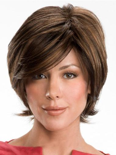 Modern Brown Wavy Short Human Hair Wigs