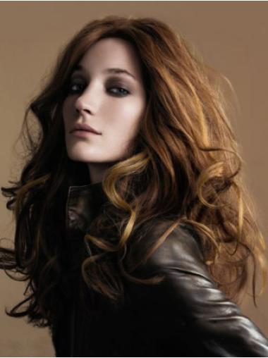 Comfortable Brown Wavy Long 100% Hand-tied Wigs