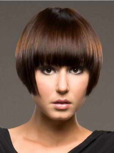 No-fuss Auburn Straight Short Human Hair Wigs
