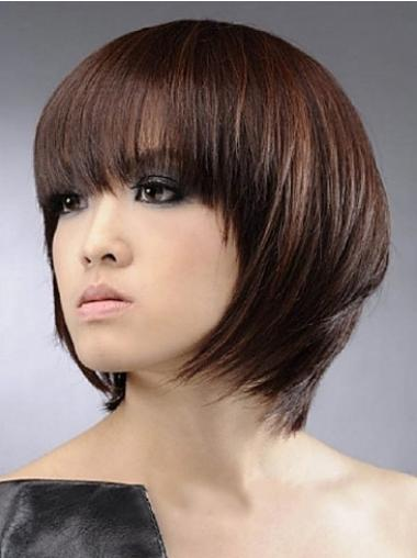 Modern Auburn Straight Chin Length Human Hair Wigs