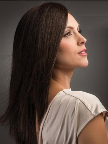 Polite Brown Straight Long Human Hair Wigs