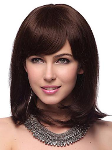 Nice Auburn Straight Shoulder Length Human Hair Wigs