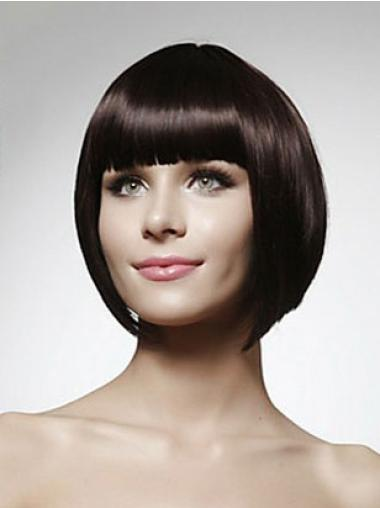 Fashionable Black Straight Chin Length Human Hair Wigs