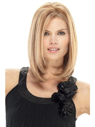 Shining Blonde Straight Shoulder Length Lace Front Wigs