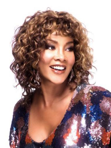 Radiant Auburn Curly Shoulder Length African American Wigs