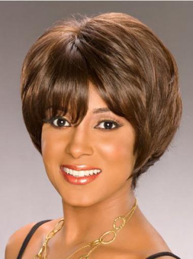 Graceful Brown Wavy Short African American Wigs