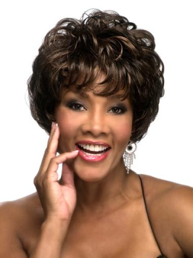 Exquisite Brown Curly Cropped African American Wigs