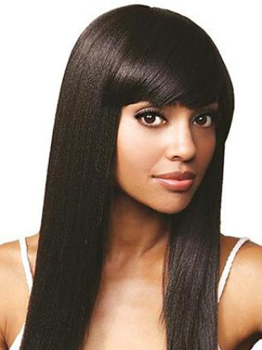Lace Front Black Straight Durable Human Hair Lace Front Wigs