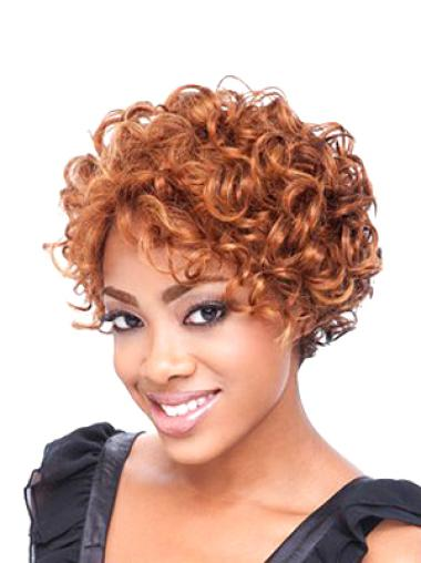 Lace Front Auburn Curly Polite Glueless Lace Front Wigs