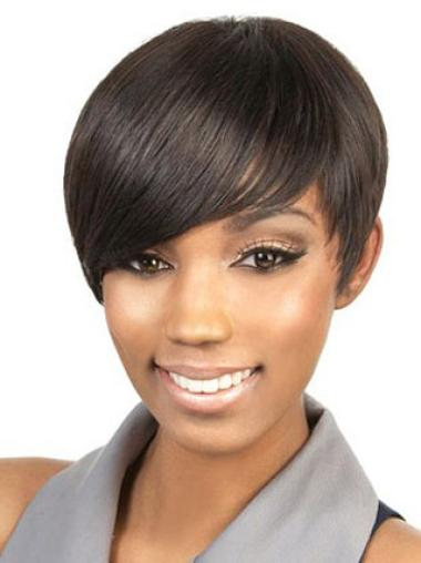 Graceful Brown Straight Cropped Celebrity Wigs