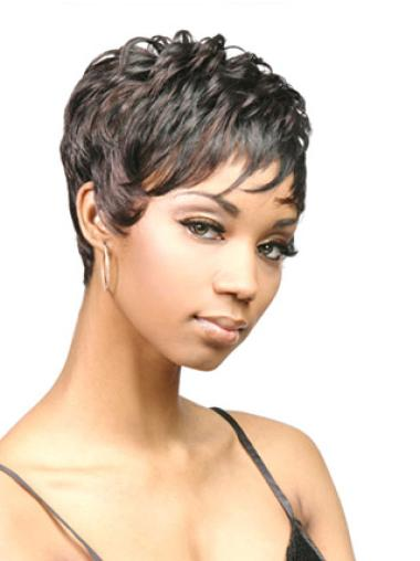 Preferential Black Wavy Cropped African American Wigs