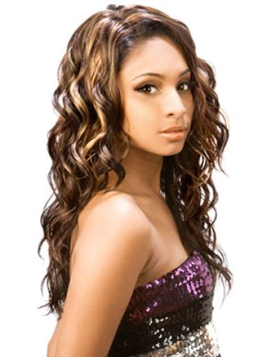Sassy Brown Wavy Long African American Wigs