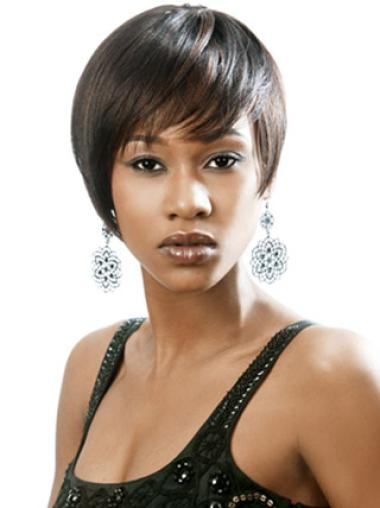 Polite Black Straight Short African American Wigs