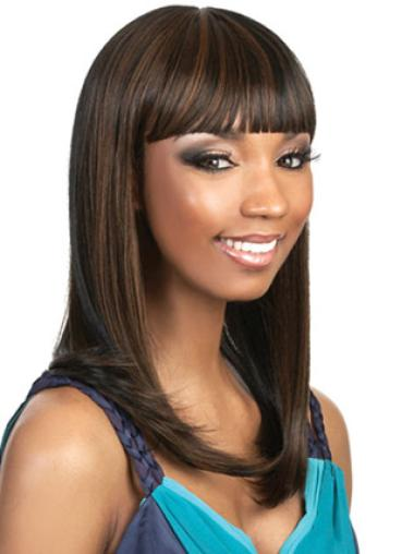 Trendy Brown Straight Long African American Wigs