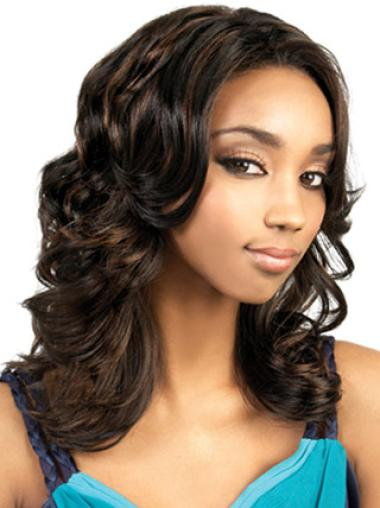 Ideal Brown Wavy Long African American Wigs