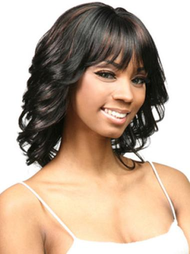 Nice Black Curly Shoulder Length African American Wigs
