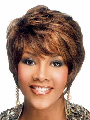 Faddish Auburn Wavy Short African American Wigs