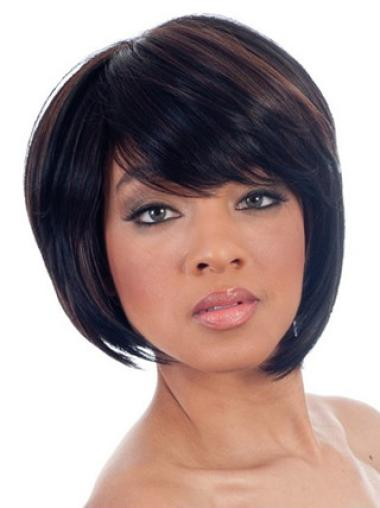 Perfect Black Straight Chin Length African American Wigs