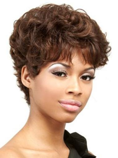 Comfortable Auburn Curly Cropped African American Wigs