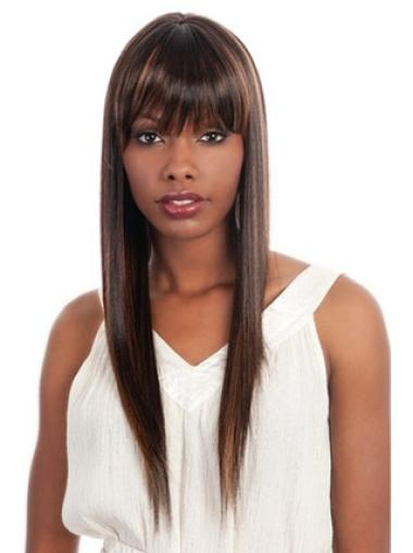 Beautiful Brown Straight Long African American Wigs