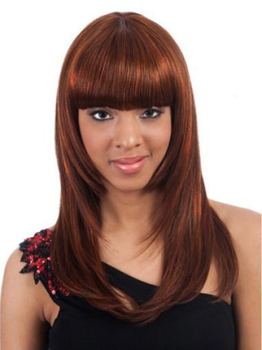 Stylish Auburn Straight Long African American Wigs