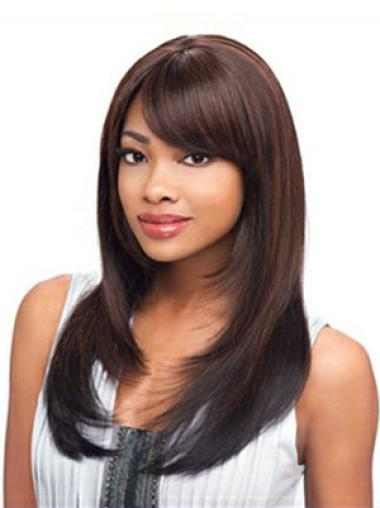 Gentle Auburn Straight Long African American Wigs