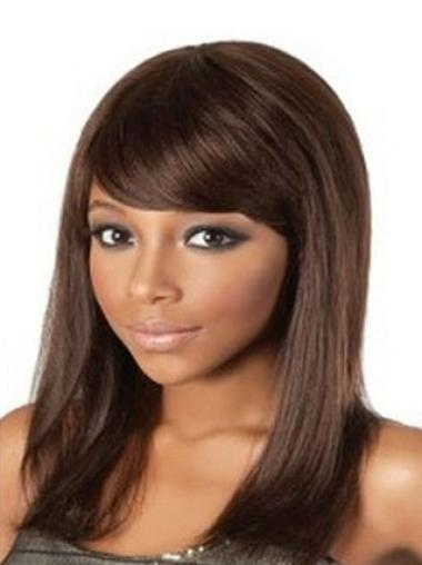 Impressive Auburn Straight Shoulder Length African American Wigs