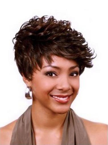 Nice Auburn Curly Cropped African American Wigs