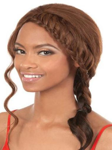 Fabulous Brown Wavy Shoulder Length African American Wigs