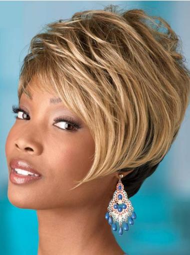 Fashion Blonde Wavy Short African American Wigs