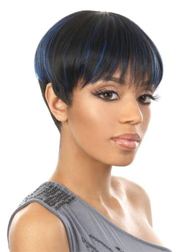 Comfortable Black Straight Cropped African American Wigs