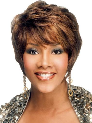 Modern Brown Straight Short African American Wigs