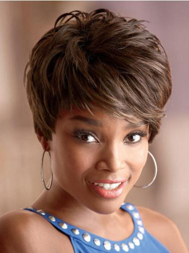 Mature Brown Wavy Cropped African American Wigs