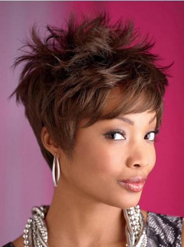 Radiant Brown Wavy Cropped African American Wigs