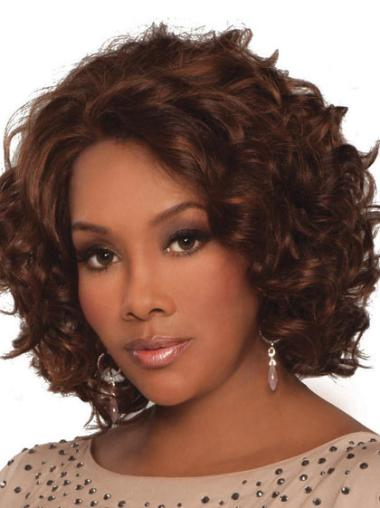 Stylish Auburn Curly Chin Length Lace Front Wigs